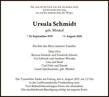 Traueranzeige von Ursula Schmidt von HNA