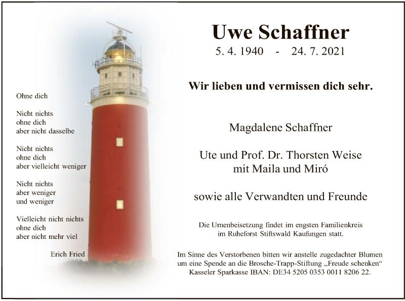 Traueranzeige für Uwe Schaffner vom 21.08.2021 aus HNA