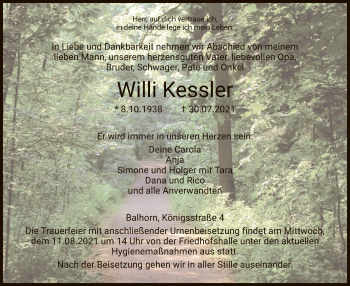 Traueranzeige von Willi Kessler von HNA