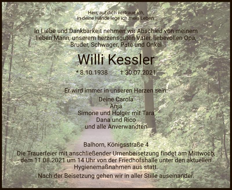 Traueranzeige für Willi Kessler vom 04.08.2021 aus HNA