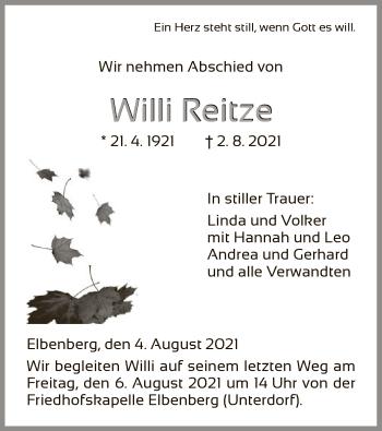 Traueranzeige von Willi Reitze von HNA