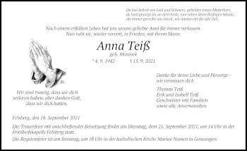 Traueranzeige von Anna Teiß von HNA