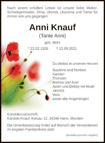 Traueranzeige von Anni Knauf von HNA
