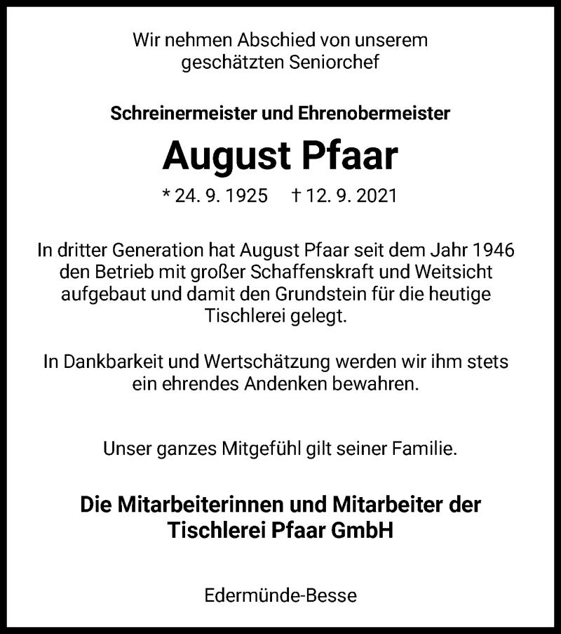 Traueranzeige für August Pfaar vom 15.09.2021 aus HNA