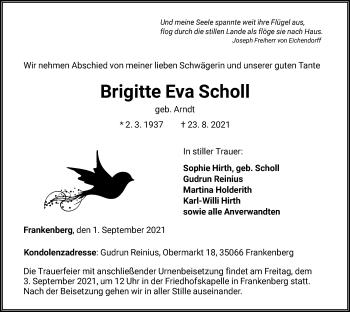 Traueranzeige von Brigitte Eva Scholl von HNA