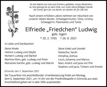 Traueranzeige von Elfriede Ludwig von HNA
