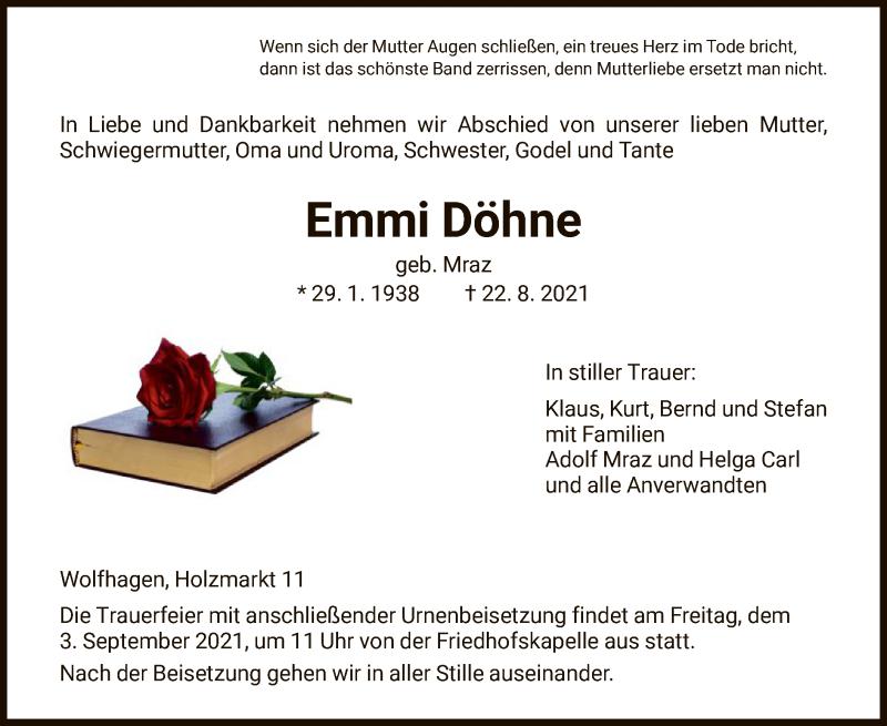 Traueranzeige für Emmi Döhne vom 01.09.2021 aus HNA