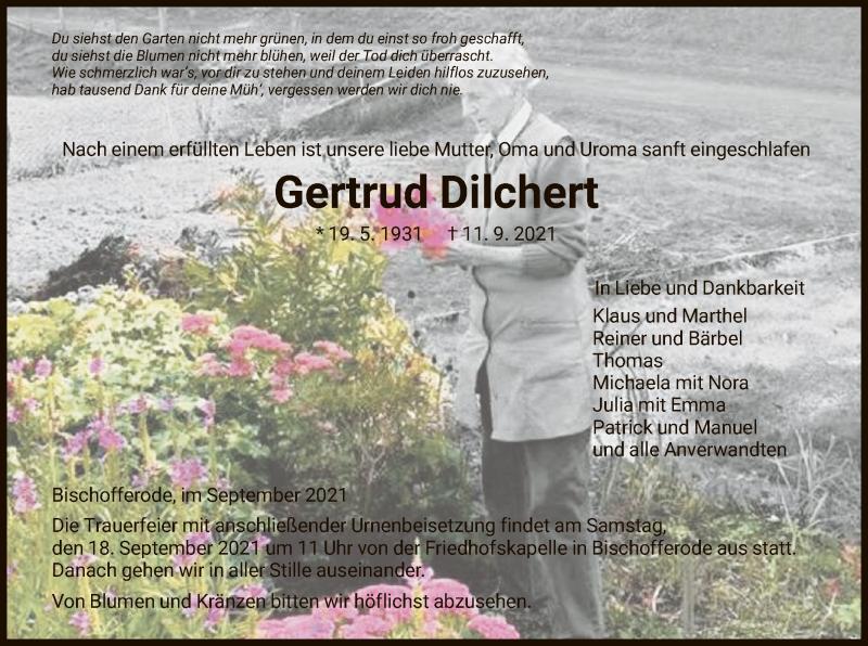 Traueranzeige für Gertrud Dilchert vom 15.09.2021 aus HNA