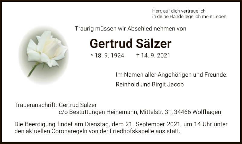 Traueranzeige für Gertrud Sälzer vom 18.09.2021 aus HNA