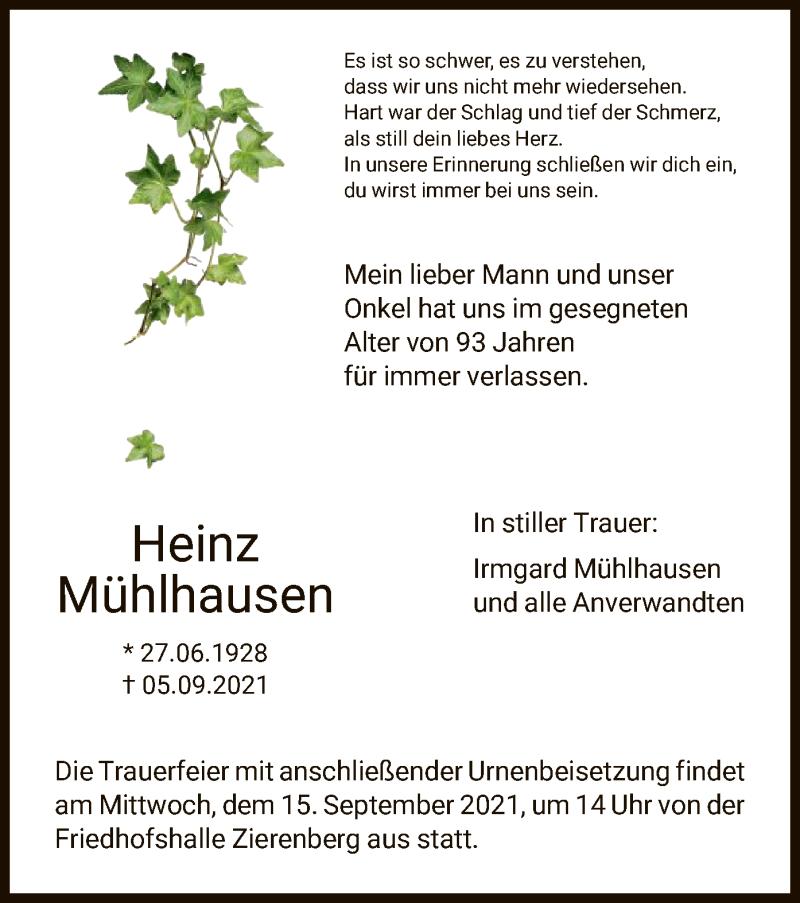 Traueranzeige für Heinz Mühlhausen vom 11.09.2021 aus HNA