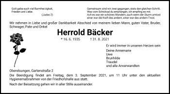 Traueranzeige von Herrold Bäcker von HNA