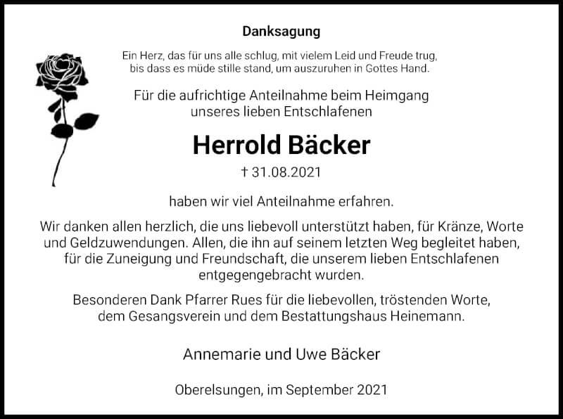 Traueranzeige für Herrold Bäcker vom 18.09.2021 aus HNA