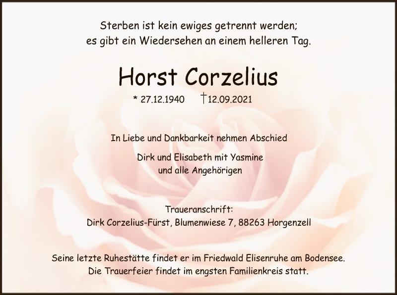 Traueranzeige für Horst Corzelius vom 15.09.2021 aus HNA