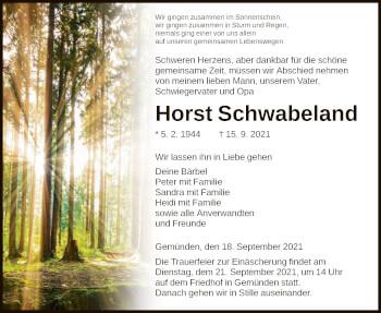 Traueranzeige von Horst Schwabeland von HNA