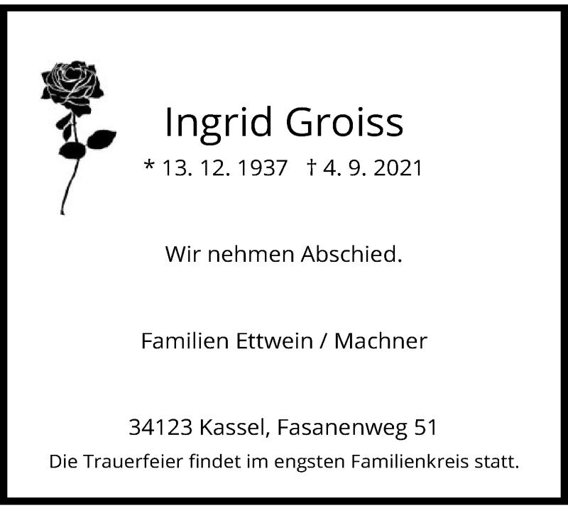 Traueranzeige für Ingrid Groiss vom 08.09.2021 aus HNA