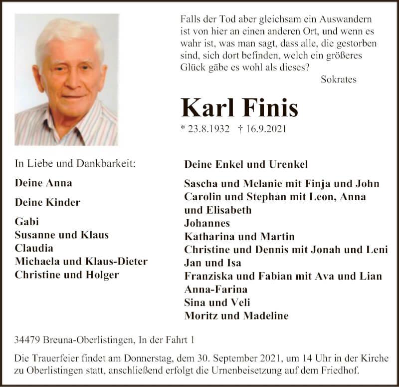 Traueranzeige für Karl Finis vom 20.09.2021 aus HNA