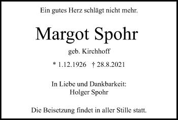 Traueranzeige von Margot Spohr von HNA