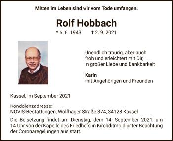 Traueranzeige von Rolf Hobbach von HNA
