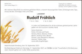 Traueranzeige von Rudolf Fröhlich von HNA