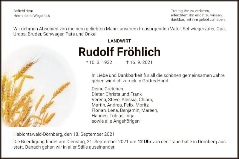 Traueranzeige für Rudolf Fröhlich vom 18.09.2021 aus HNA