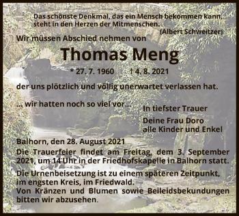 Traueranzeige von Thomas Meng von HNA