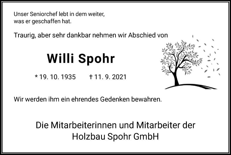 Traueranzeige für Willi Spohr vom 16.09.2021 aus HNA