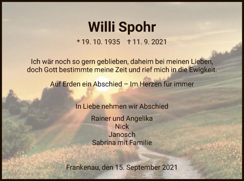 Traueranzeige für Willi Spohr vom 15.09.2021 aus HNA